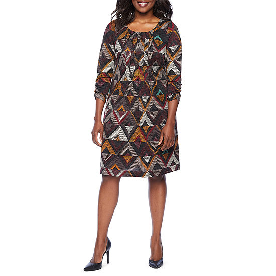 Perceptions 3/4 Sleeve Geometric Shift Dress