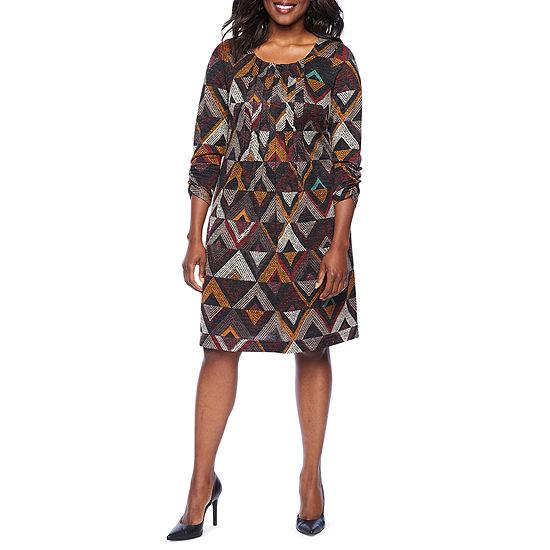Perceptions 3/4 Sleeve Midi Geometric Shift Dress