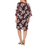 Studio 1 3/4 Bell Tie-Sleeve Floral Lace Shift Dress-Plus