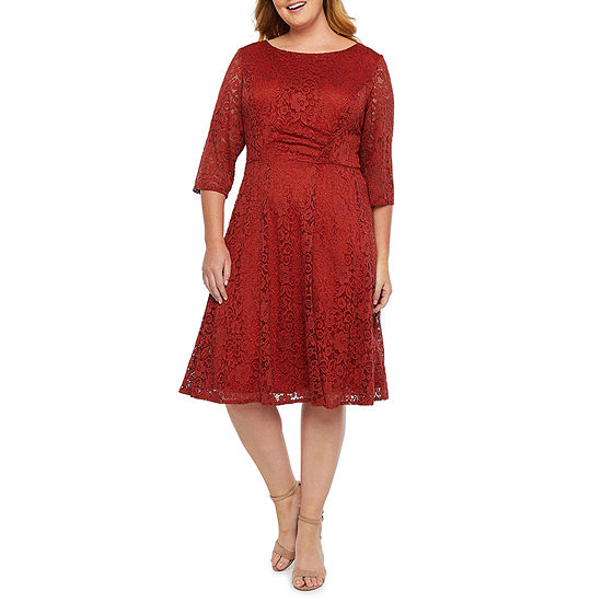 Studio 1 3/4 Sleeve Floral Lace Fit & Flare Dress-Plus