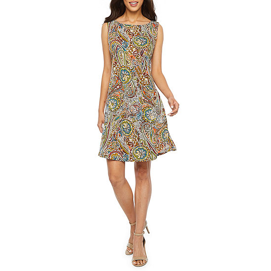 Ronni Nicole Sleeveless Paisley Puff Print Shift Dress-Petite