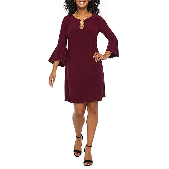 MSK 3/4 Bell Sleeve Shift Dress-Petite