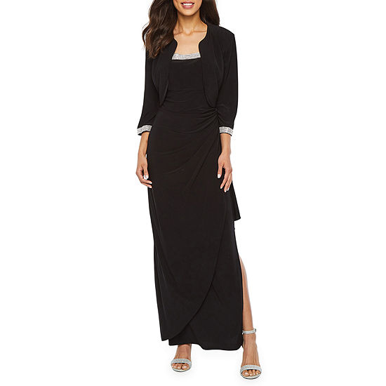 R M Richards 3 4 Sleeve Embellished Evening Gown With Removable Jacket
