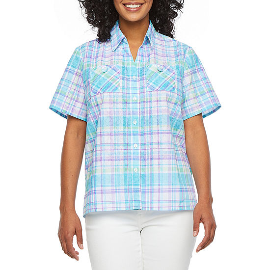 Alfred Dunner Catalina Island Womens Short Sleeve Blouse-Petite