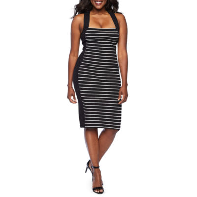 Bold Elements Sleeveless Striped Bodycon Dress