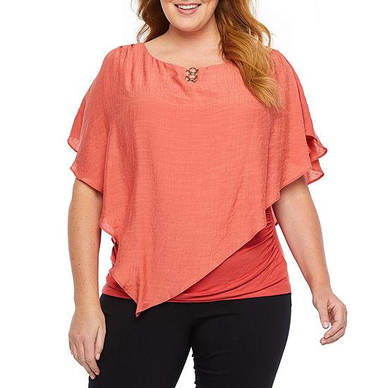 Alyx Womens V Neck 3/4 Sleeve Blouse-Plus