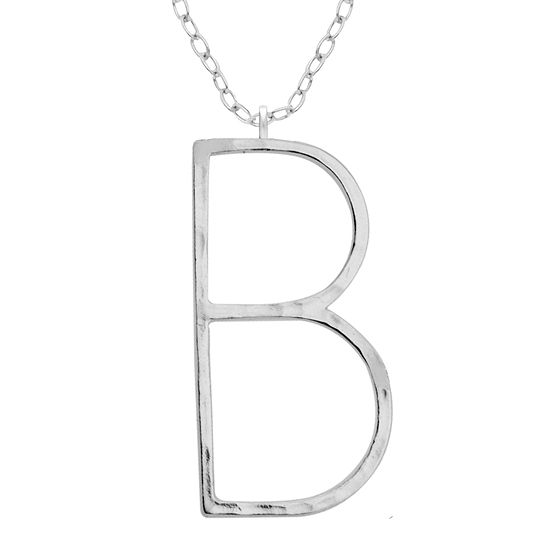 Silver Treasures Hammered B Initial Womens Pendant Necklace