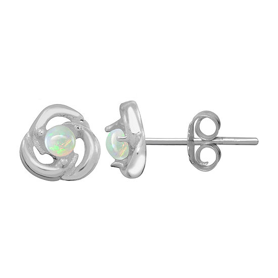Itsy Bitsy 1/10 CT. T.W. White Opal Sterling Silver 6.5mm Stud Earrings