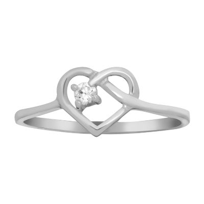 Itsy Bitsy Womens 1/10 CT. T.W. Lab Created Cubic Zirconia Heart Delicate Cocktail Ring