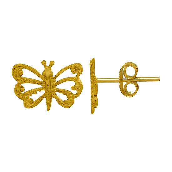 Itsy Bitsy 14K Gold Over Silver 6.6mm Butterfly Stud Earrings