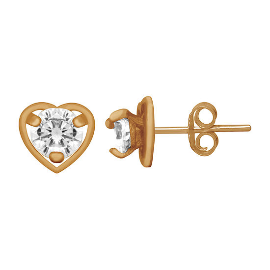 Itsy Bitsy Lab Created Cubic Zirconia 14K Gold Over Silver 5.7mm Heart Stud Earrings