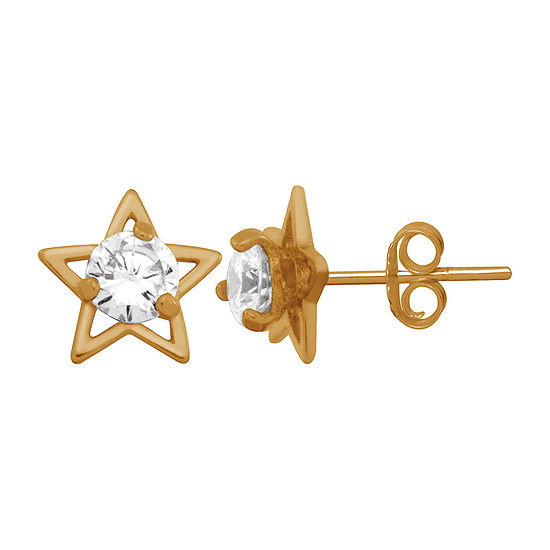 Itsy Bitsy Lab Created Cubic Zirconia 14K Gold Over Silver 8.4mm Star Stud Earrings