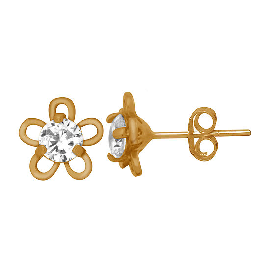 Itsy Bitsy Lab Created Cubic Zirconia 14K Gold Over Silver 7.5mm Flower Stud Earrings