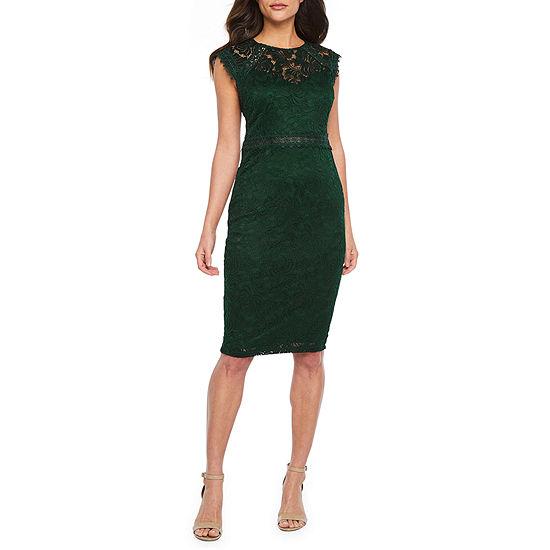 Premier Amour Cap Sleeve Lace Sheath Dress