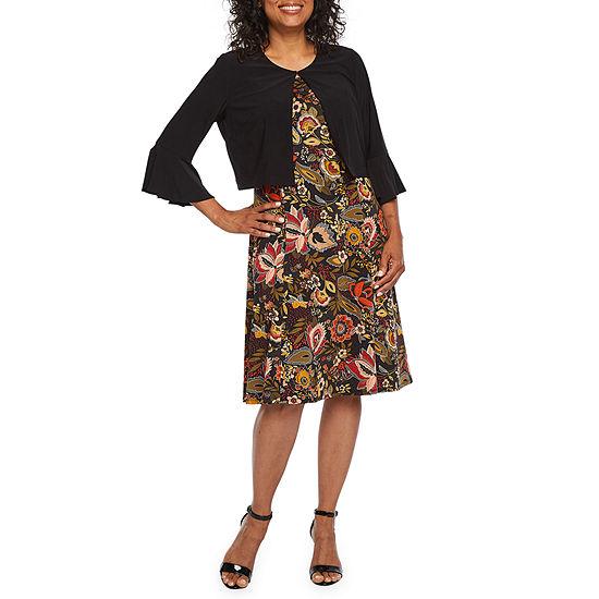 Perceptions-Petite 3/4 Sleeve Midi Jacket Dress