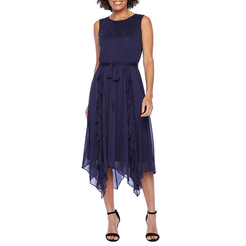 1920s Style Dresses, 20s Dresses J Taylor Sleeveless Glitter Fit  Flare Dress Womens Size 14 Blue $36.66 AT vintagedancer.com