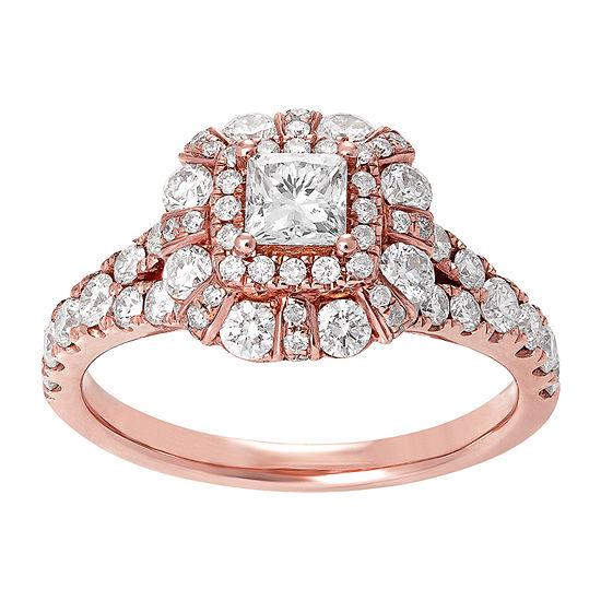 Womens 1 1/2 CT. T.W. Genuine White Diamond 14K Rose Gold Engagement Ring