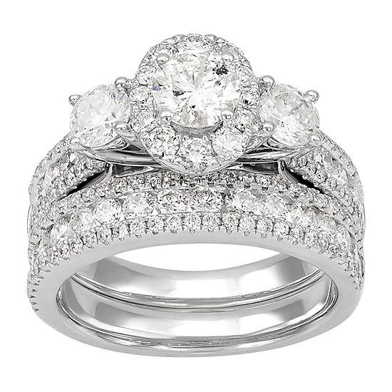 Womens 3 CT. T.W. Genuine White Diamond 14K White Gold Engagement Ring
