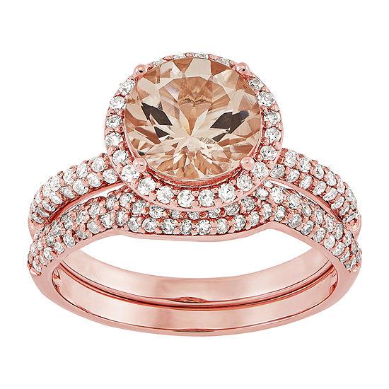 Womens 5/8 CT. T.W. Genuine Pink Morganite 14K Rose Gold Cocktail Ring
