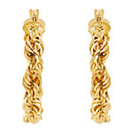 10K Gold 25.7mm Round Hoop Earrings