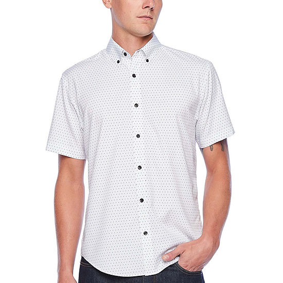 Society Of Threads Performance Stretch Mens Short Sleeve Dots Button-Front Shirt