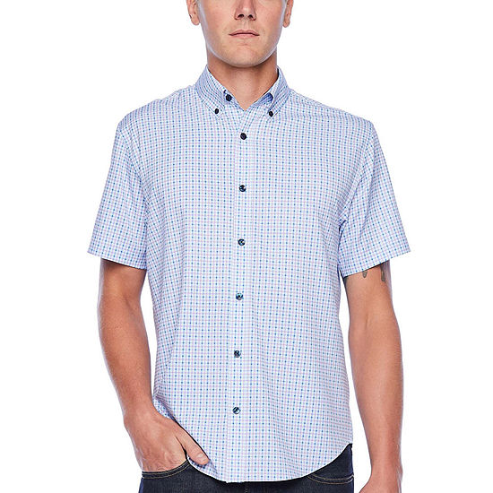 Society Of Threads Performance Stretch Mens Short Sleeve Checked Button-Front Shirt