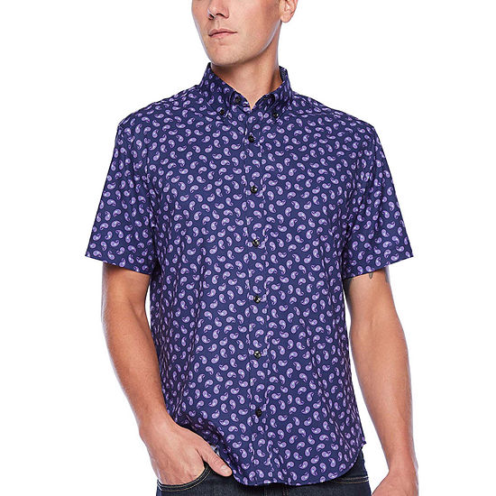 Society Of Threads Performance Stretch Mens Short Sleeve Paisley Button-Front Shirt