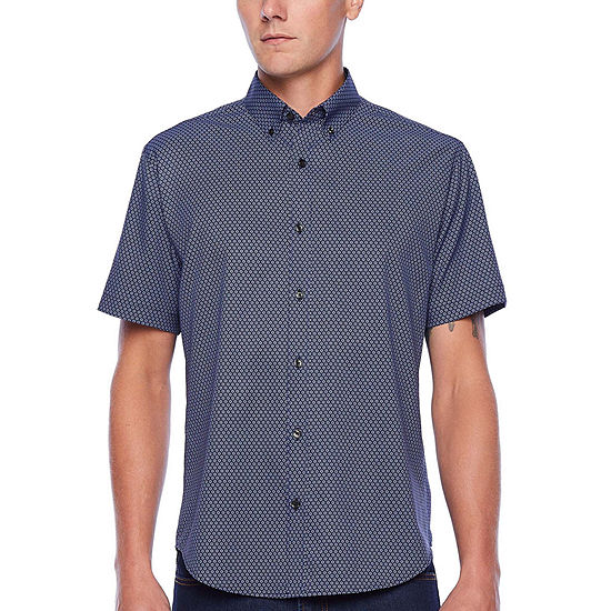 Society Of Threads Performance Stretch Mens Short Sleeve Floral Button-Front Shirt