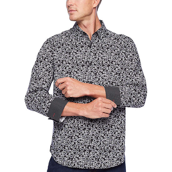 Society Of Threads Comfort Stretch Mens Long Sleeve Paisley Button-Front Shirt