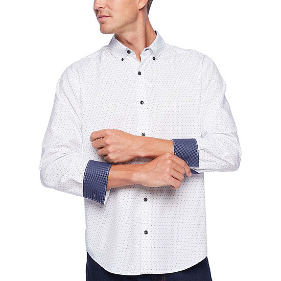 Society Of Threads Untucked Performance Stretch Mens Long Sleeve Moisture Wicking Dots Button-Front Shirt