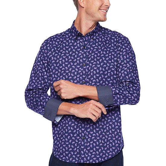 Society Of Threads Untucked Performance Stretch Mens Long Sleeve Moisture Wicking Paisley Button-Front Shirt