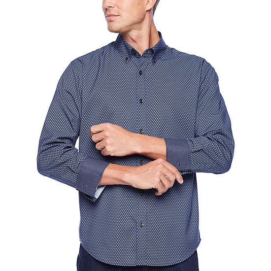 Society Of Threads Untucked Performance Stretch Mens Long Sleeve Moisture Wicking Floral Button-Front Shirt