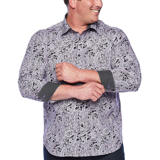 Society Of Threads Big and Tall Comfort Stretch Mens Long Sleeve Paisley Button-Front Shirt