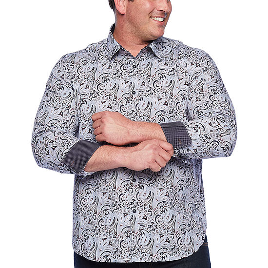 Society Of Threads Comfort Stretch Mens Long Sleeve Paisley Button-Front Shirt Big and Tall
