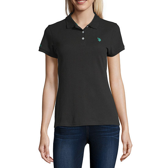 Us Polo Assn. Juniors Womens Short Sleeve Knit Polo Shirt