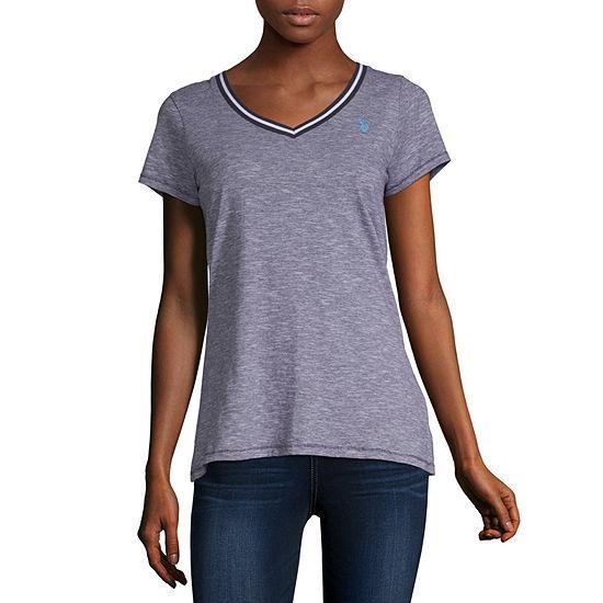 Us Polo Assn.-Womens V Neck Short Sleeve T-Shirt Juniors
