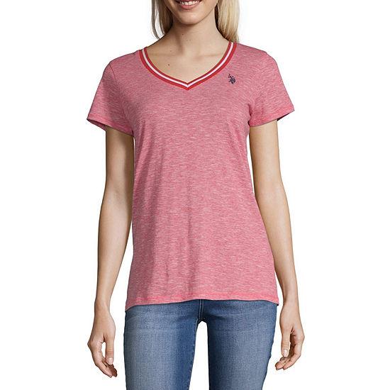 Us Polo Assn. Juniors-Womens V Neck Short Sleeve T-Shirt