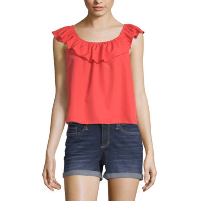 Us Polo Assn. Womens Round Neck Short Sleeve Blouse-Juniors