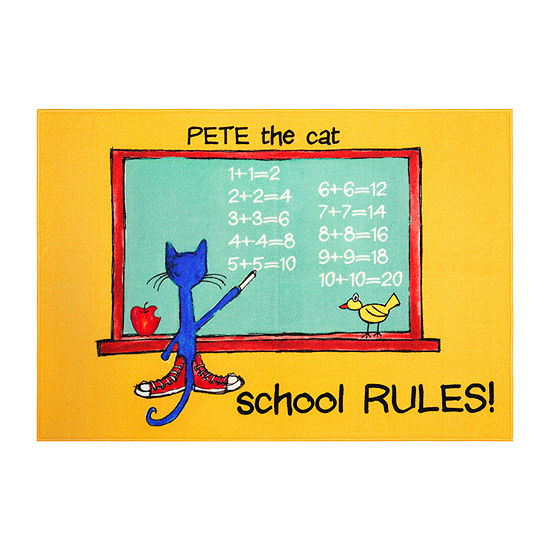 Home Dynamix Pete The Cat  Elementary School Rules Rectangular Indoor Rugs