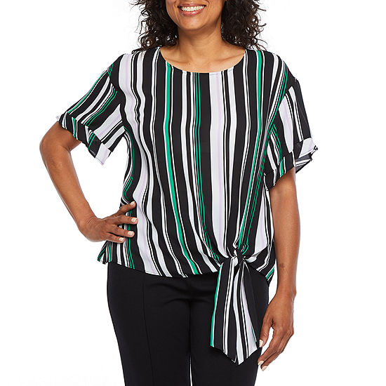 Worthington Womens Round Neck Short Sleeve Blouse