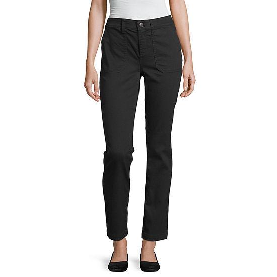 St. John's Bay Womens Straight Flat Front Pant-Petite