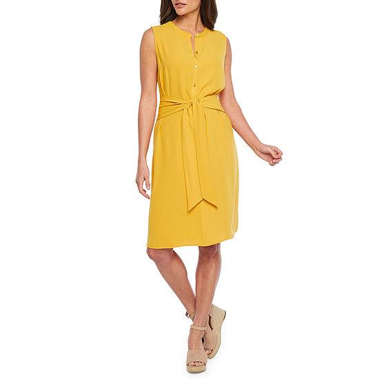 Bold Elements Sleeveless Midi Shirt Dress