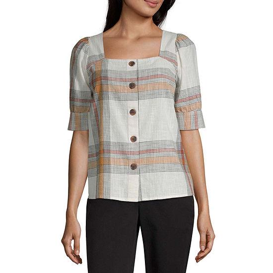 Worthington Womens Square Neck Short Sleeve Blouse