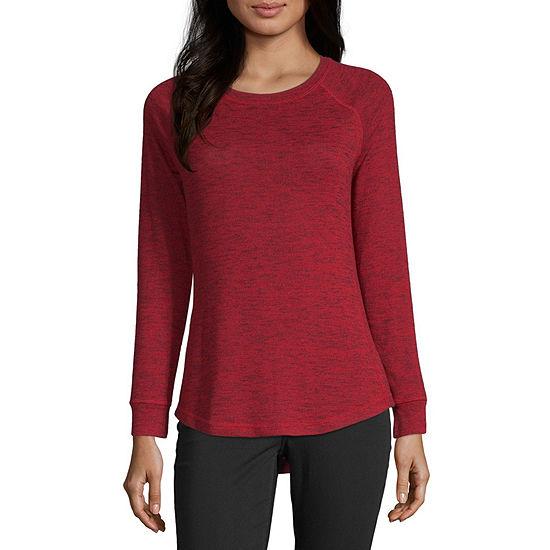 Liz Claiborne-Womens Crew Neck Long Sleeve T-Shirt