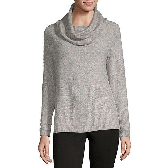 Liz Claiborne Womens Cowl Neck Long Sleeve Pullover Sweater