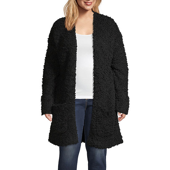 a.n.a Womens Long Sleeve Open Front Cardigan-Plus