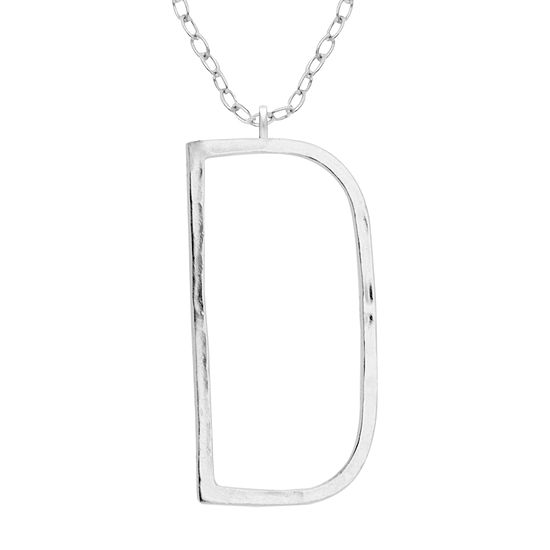 Silver Treasures Hammered D Initial Womens Pendant Necklace