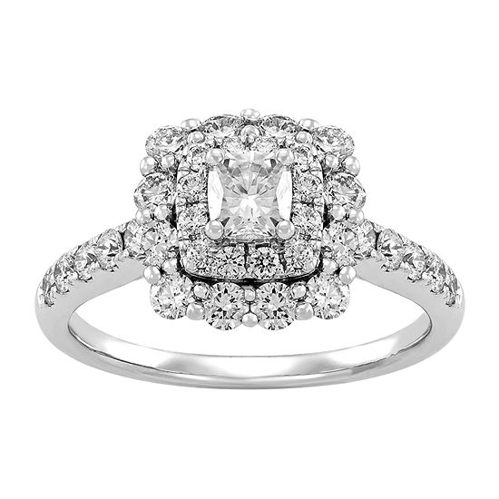 Womens 1 1 2 Ct Tw Genuine White Diamond 14k White Gold Engagement Ring