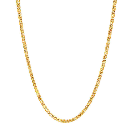 Made in Italy 14K Gold 22 Inch Hollow Wheat Chain Necklace