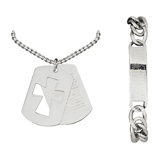 Stainless Steel Cross 2-pc. Jewelry Set